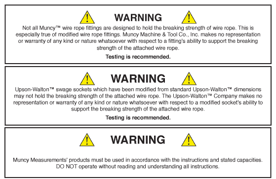 Muncy Machine and Upson-Walton General Warnings
